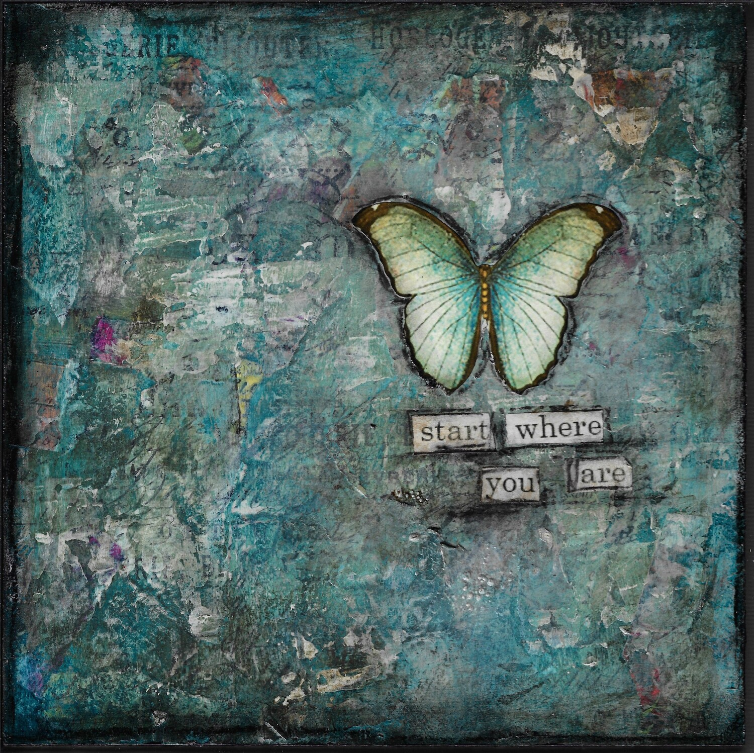 """Start where you are"" butterfly Print on Wood 6x6 Overstock"