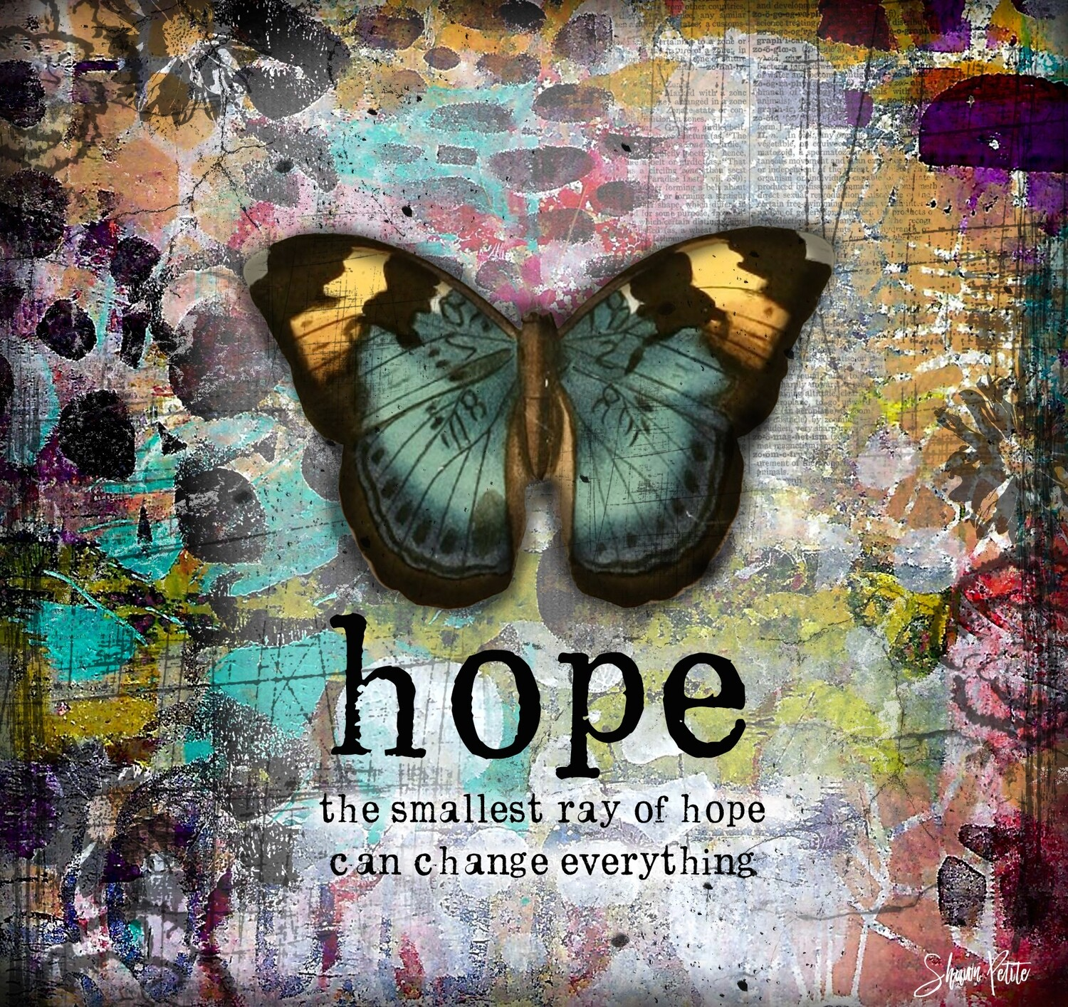 """""""Hope the smallest ray of hope can change everything"""" butterfly Print on Wood 6x6 Overstock"""