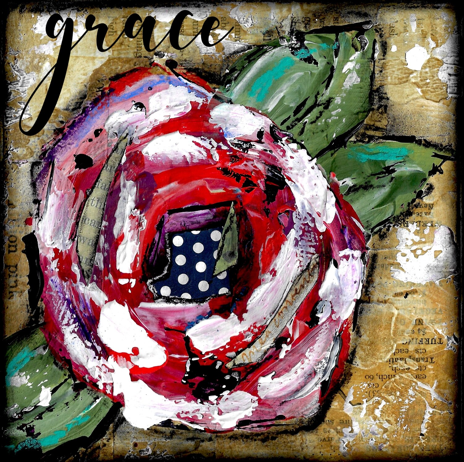 """Grace"" flower Print on Wood 6x6 Overstock"
