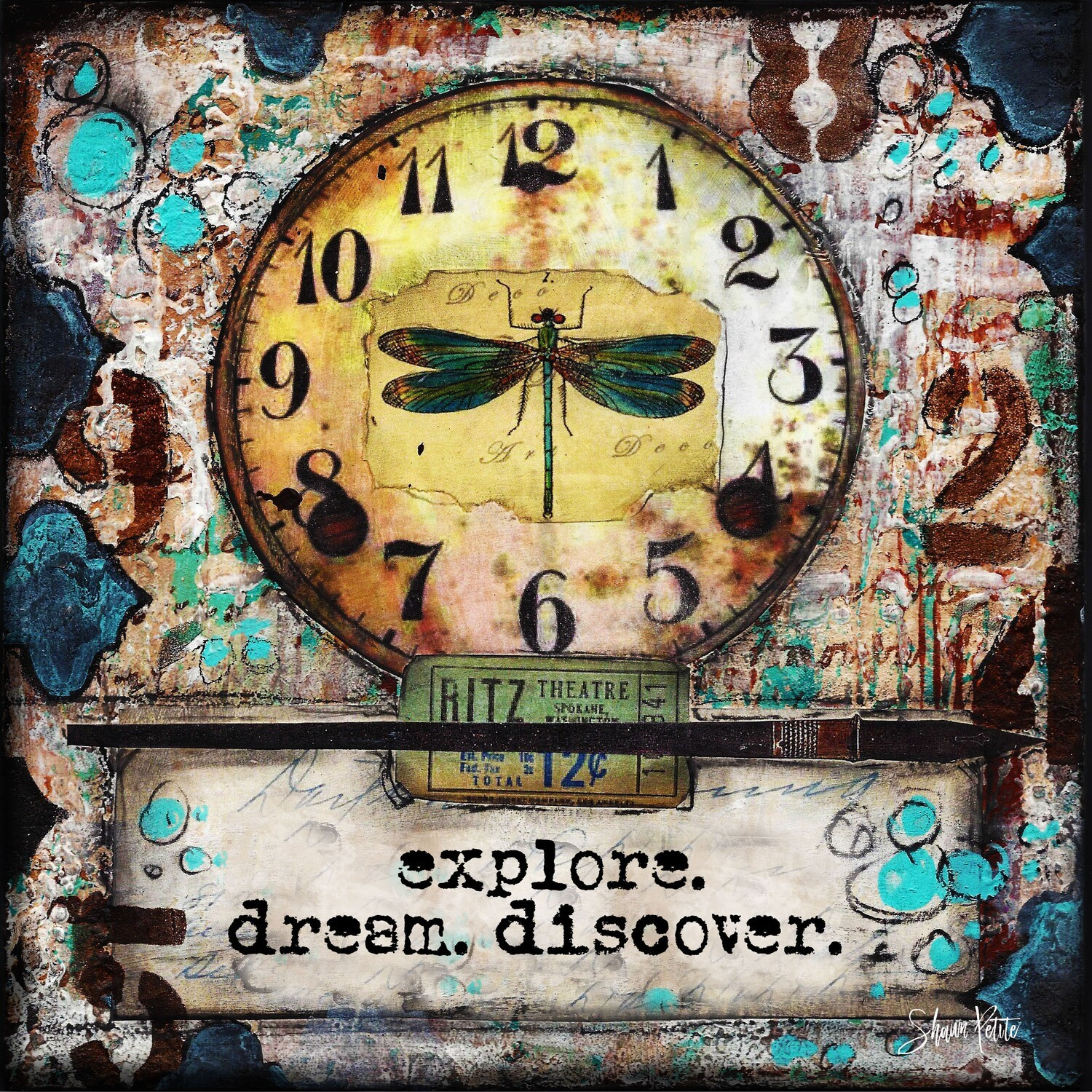 """Explore. dream. discover."" dragonfly Print on Wood 6x6 Overstock"