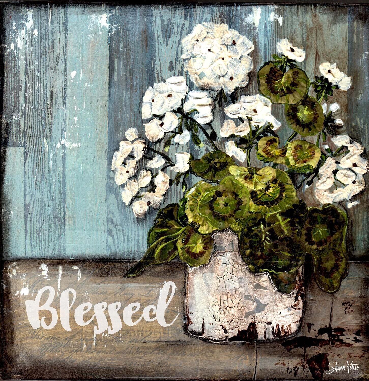 """Blessed"" white geranium Print on Wood 6x6 Overstock"