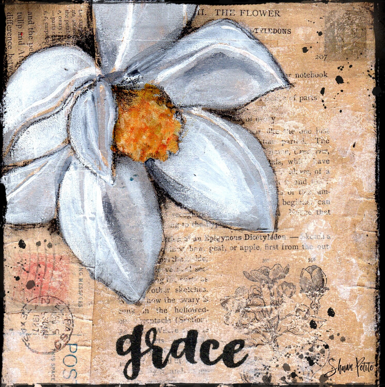 """Grace"" magnolia Print on Wood 6x6 Overstock"