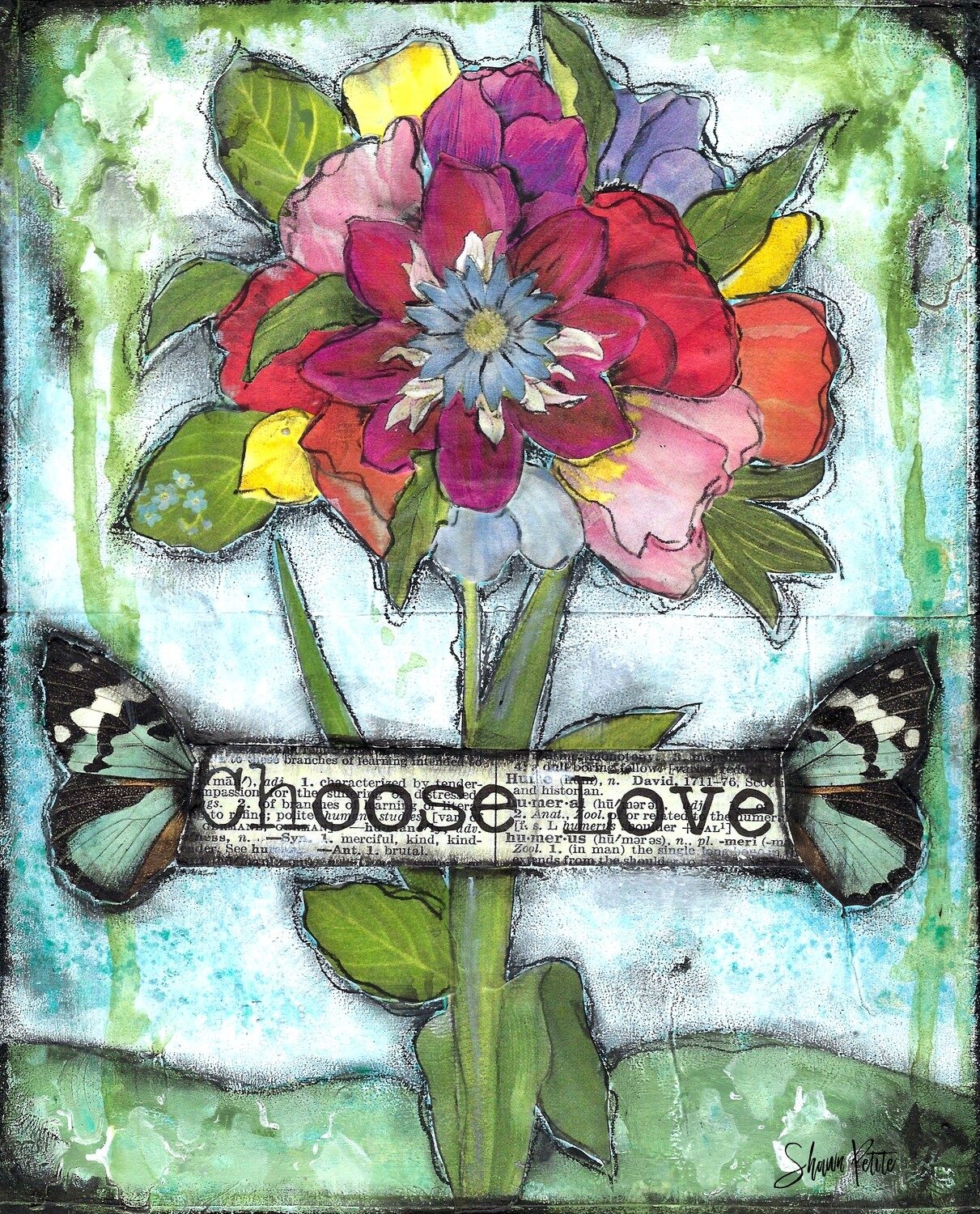 """Choose love"" flower Print on Wood 5x7 Overstock"