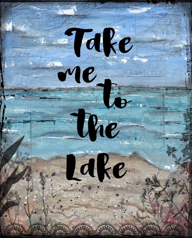 """Take me to the lake"" Print on Wood 8x10 Overstock"