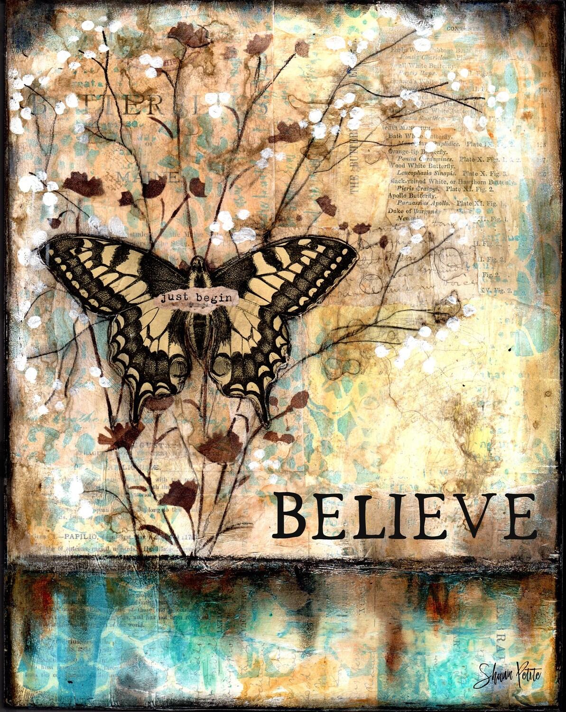 """Believe"" butterfly Print on Wood 8x10 Overstock"