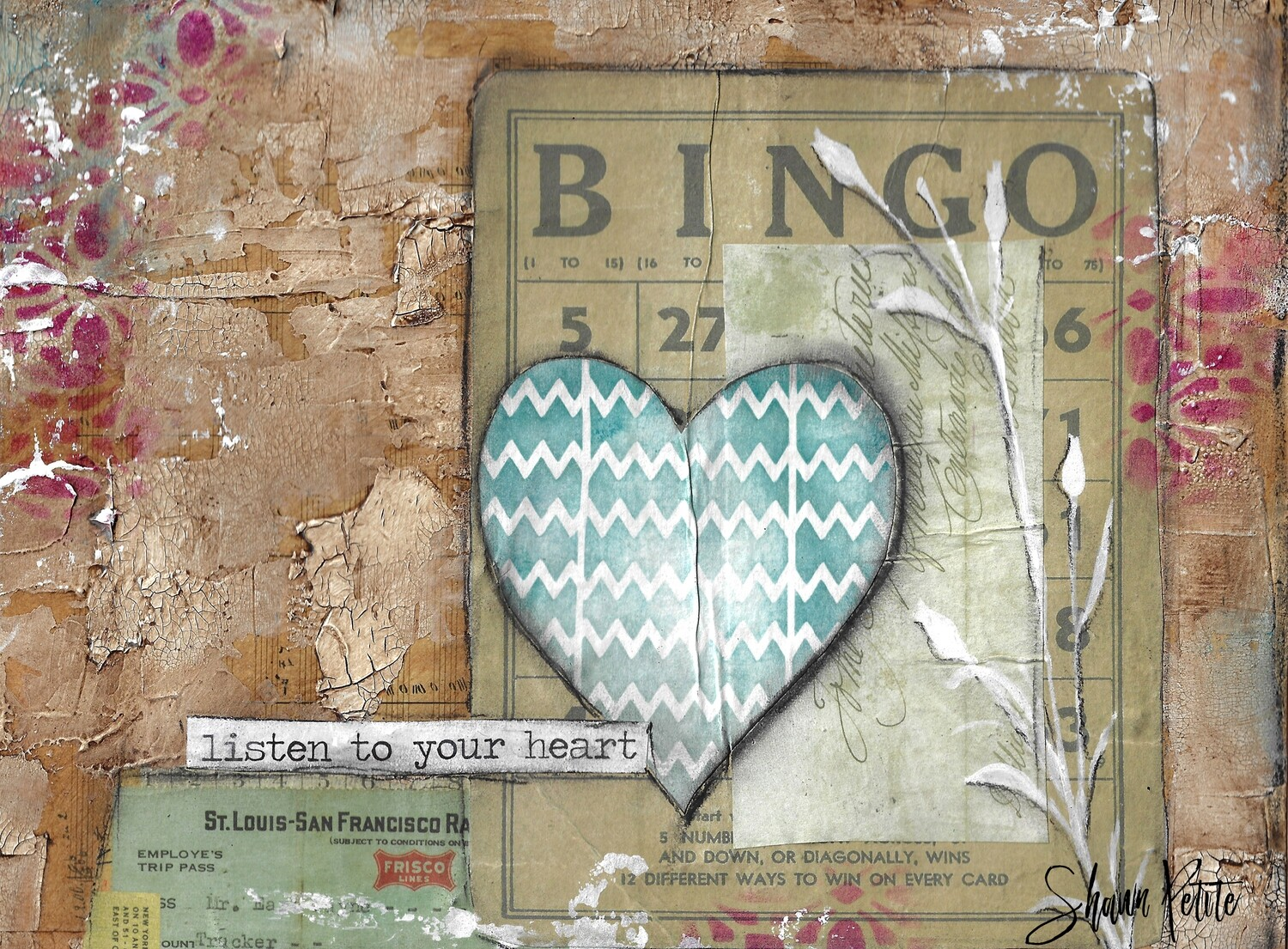 """""""Listen to your heart"""" heart Print on Wood 10x8 Overstock"""