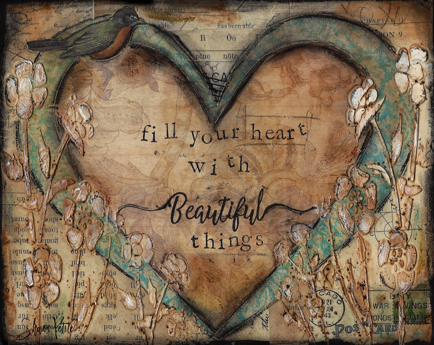 """Begin each day with a grateful heart"" heart and bird Print on Wood 10x8 Overstock"