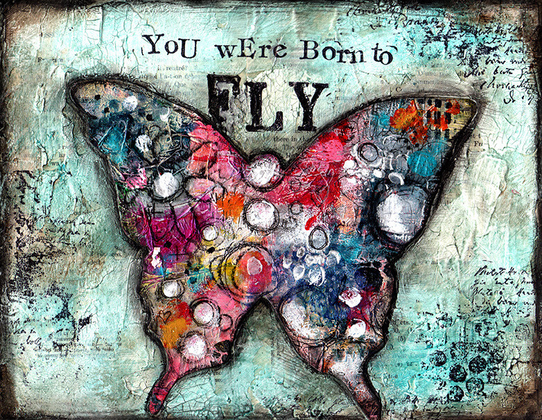 """""""You were born to fly"""" butterfly Print on Wood 10x8 Overstock"""