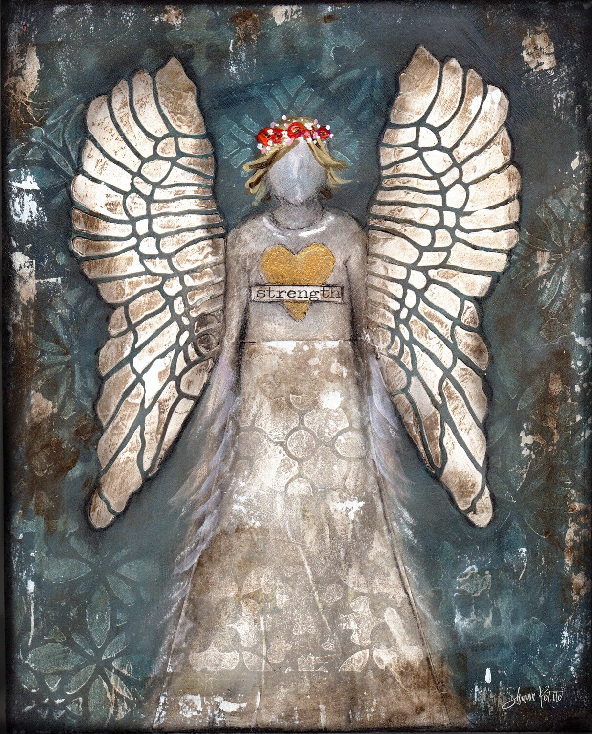 """Strength"" angel Print on Wood 8x10 Overstock"