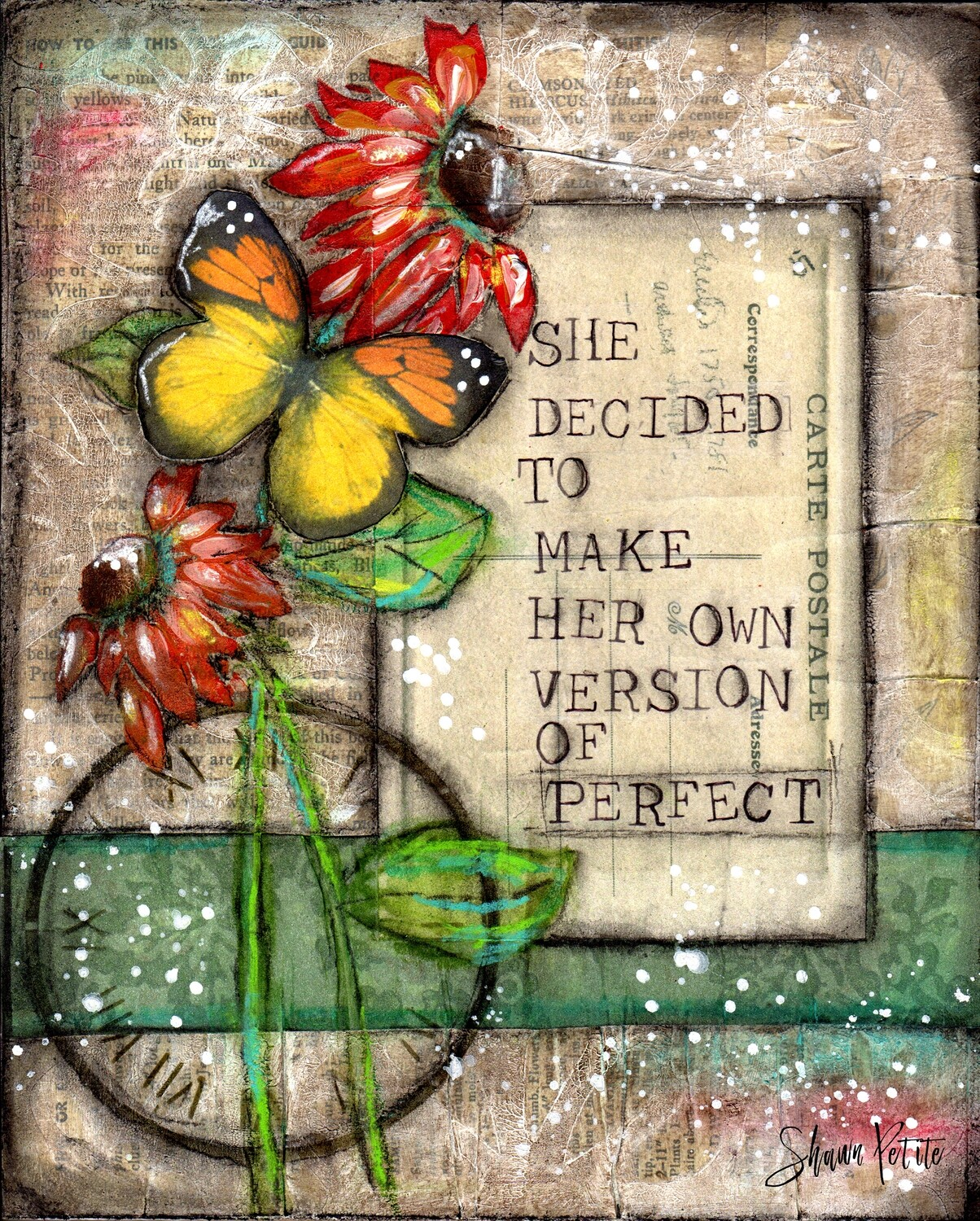 """She decided to make her own version of perfection"" flower and butterfly Print on Wood 14x11 Overstock"