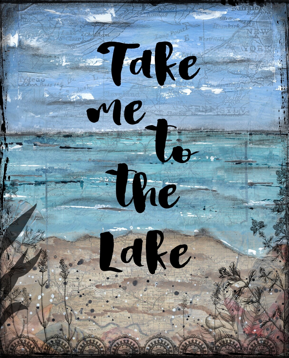 """Take me to the lake"" Print on Wood 14x11 Overstock"