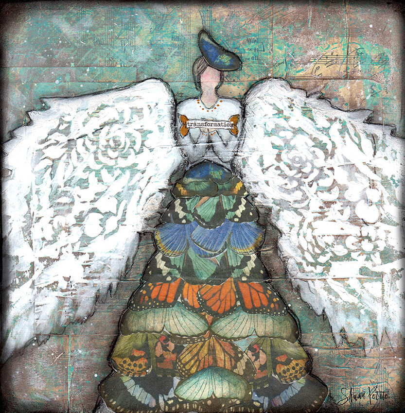 """Transformation angel"" with butterfly Print on Wood 12x12 Overstock"