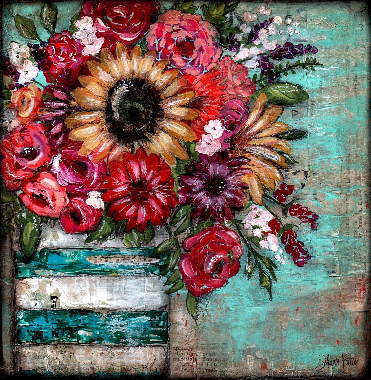 """Bright sunflower lovely"" teal vase Print on Wood 12x12 Overstock"