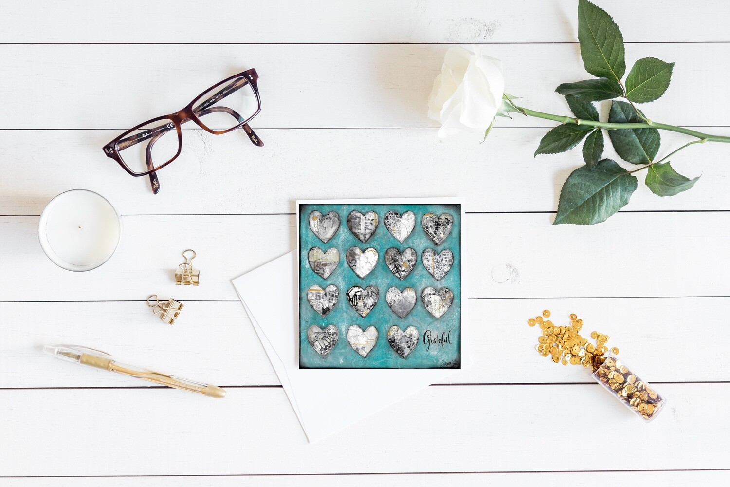"""Grateful"" hearts teal 5x5 4 pack card"