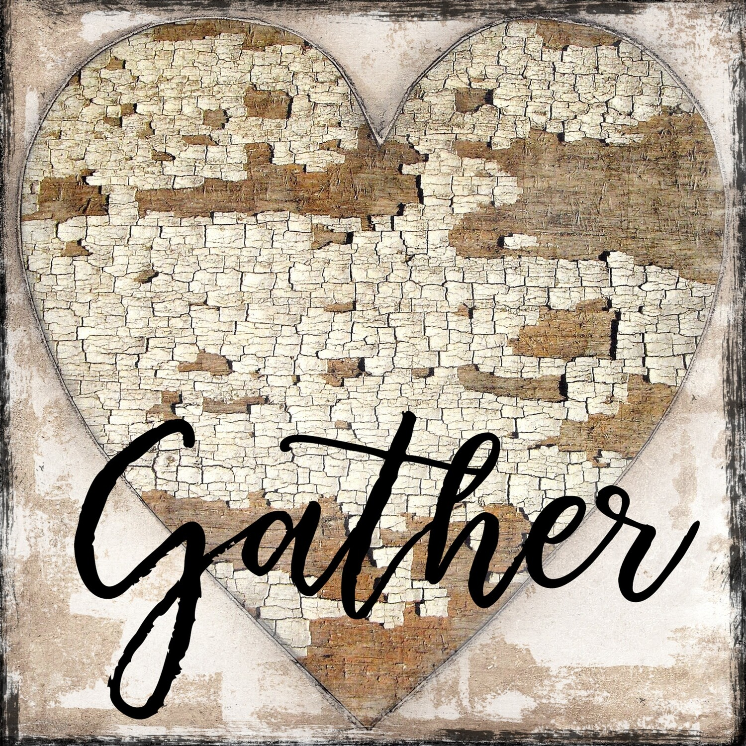 """Gather"" chippy heart Print on Wood 12x12 Overstock"