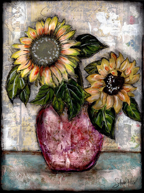"""Sunflower Duo"" Print on Wood 11x14 Overstock"