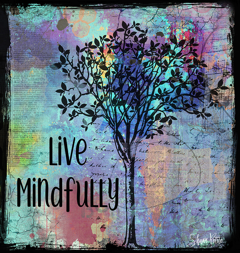 """""""Live Mindfully"""" Print on Wood 12x12 Overstock"""