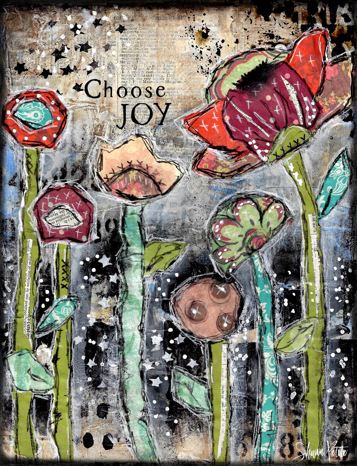 """Choose Joy"" flowers Print on Wood 11x14 Overstock"