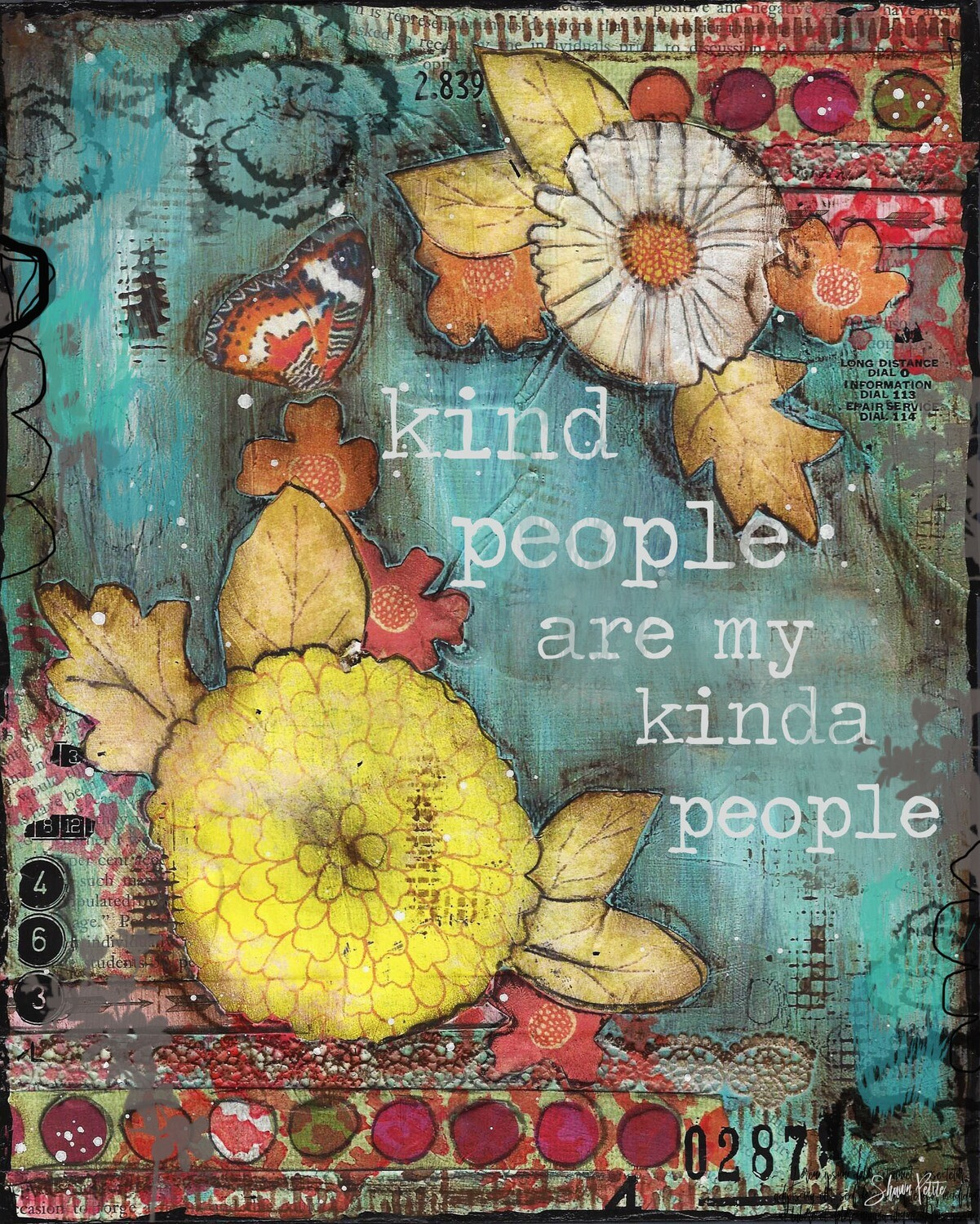 """Kind People are my kinda people"" flowers Print on Wood 5x7 Overstock"
