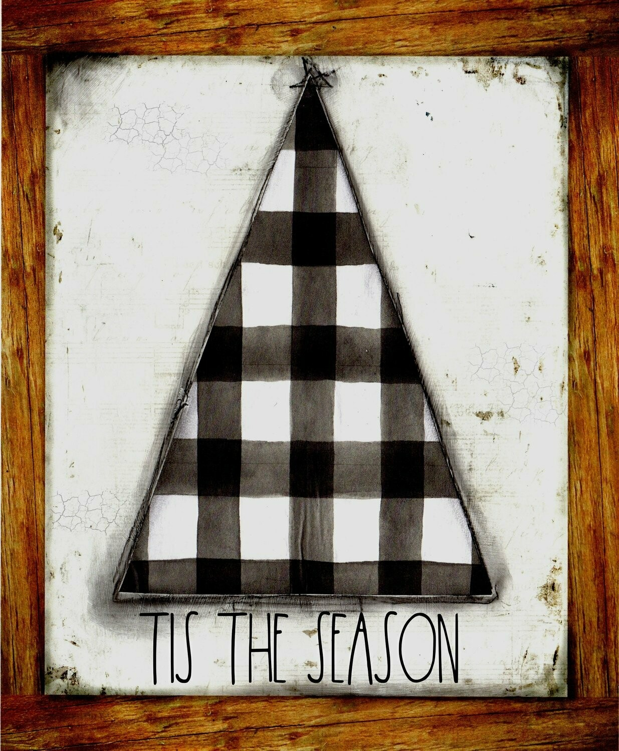 """Tis the Season"" Christmas tree black and white plaid Print on Wood 4x6 Overstock"