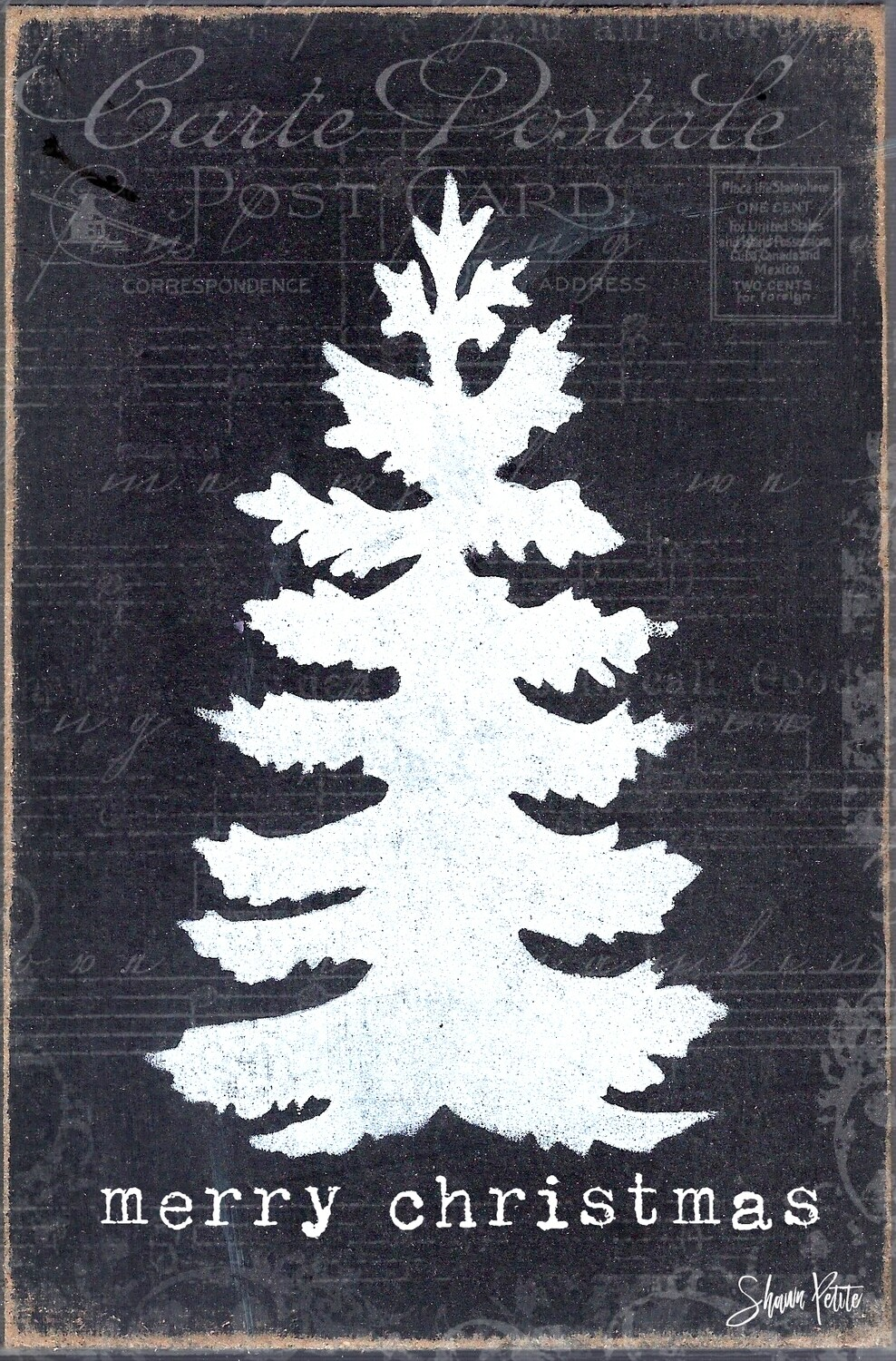 """""""Merry Christmas"""" black and white tree Print on Wood 5x7 Overstock"""