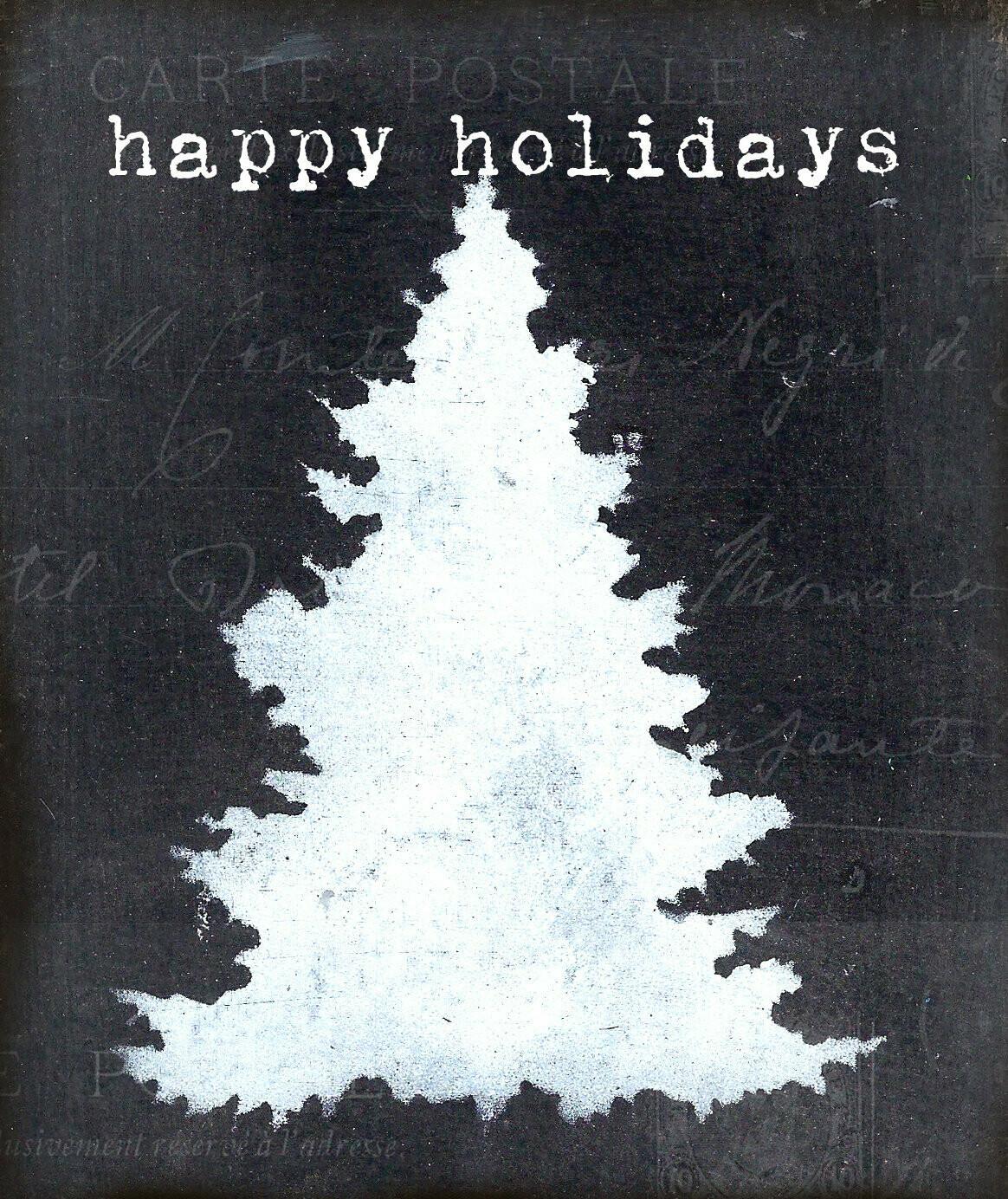 """Happy Holidays"" Print on Wood 4x6 Overstock"