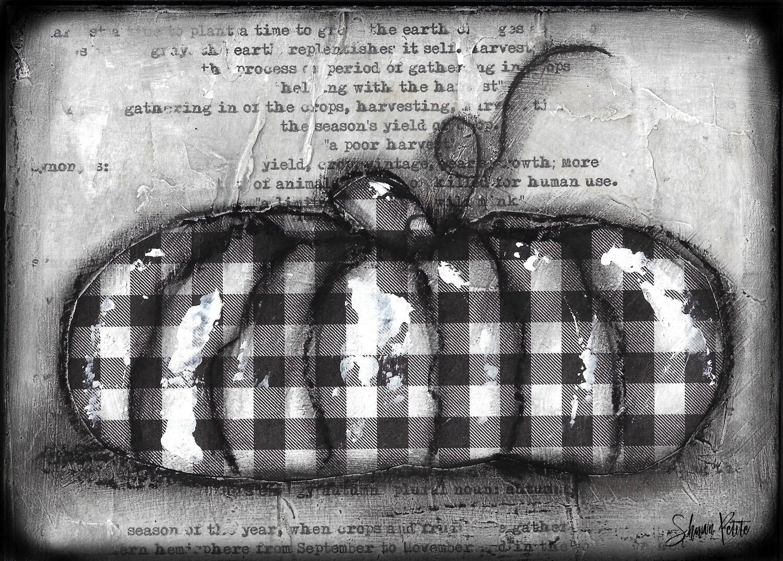 """Pumpkin"" black and white gingham original 7x5"