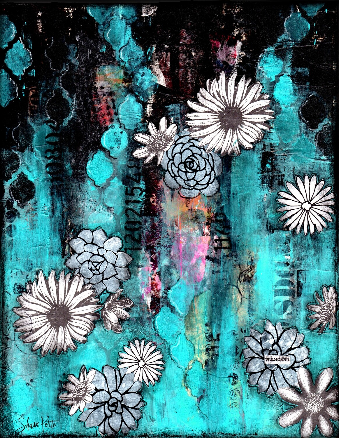 """Wisdom"" turquoise & white flowers Print on Wood 4x6 overstock"