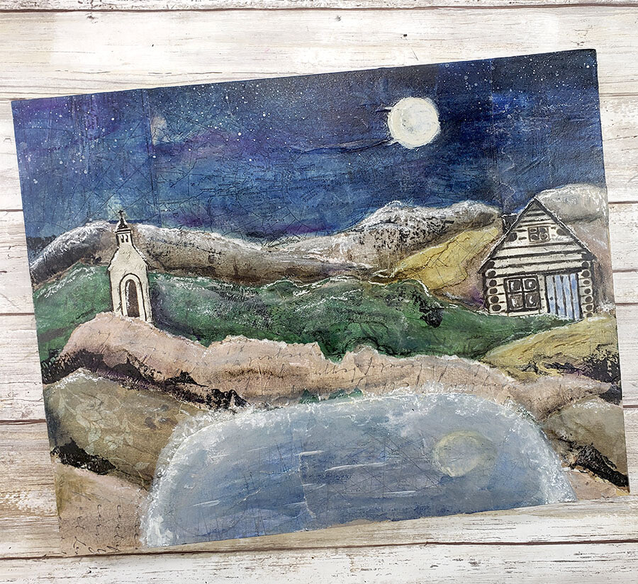 Tranquility mixed media landscape 11x14 original clearance