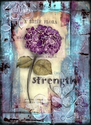 Strength hydrangea flower, Print on Wood and Print to be Framed