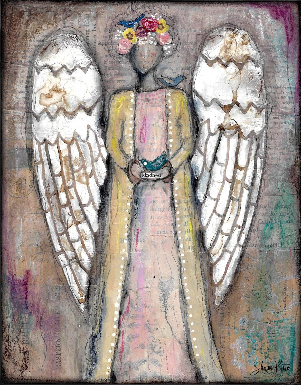 Angel of Kindness blue bird, digital instant download