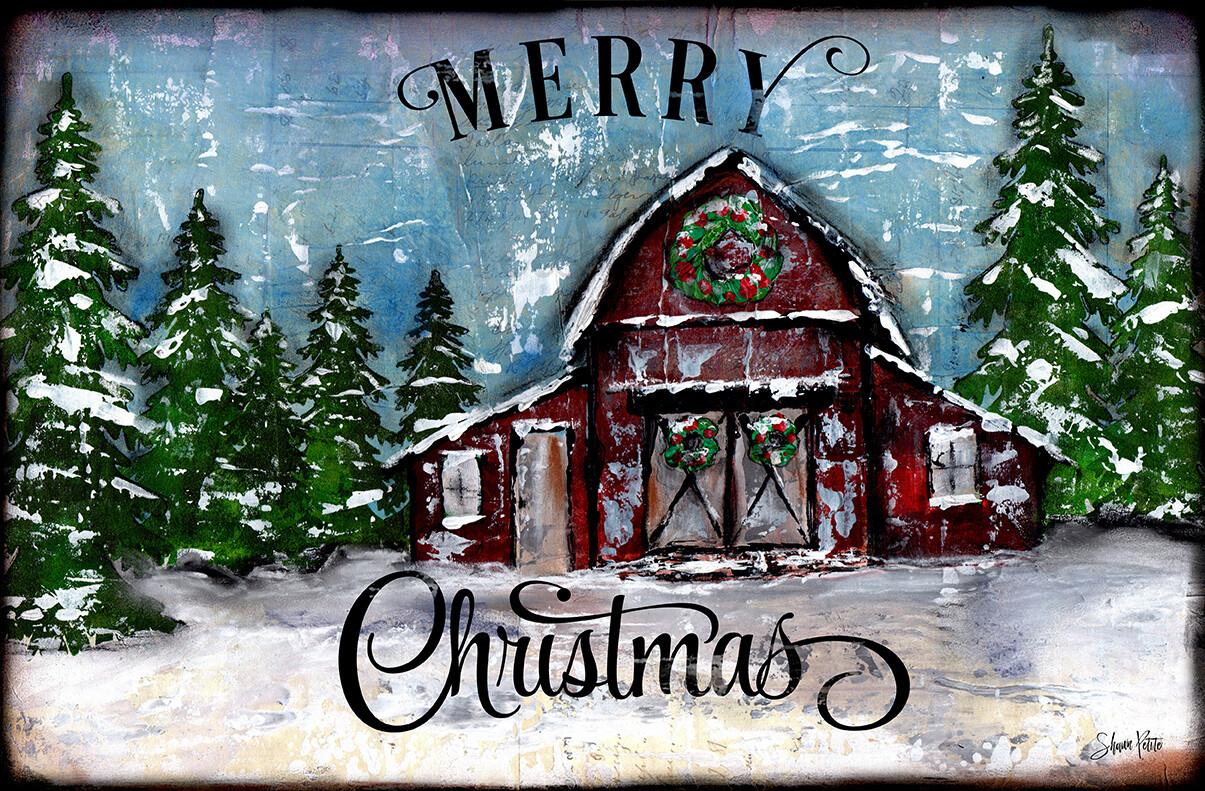 Merry Christmas barn, digital instant download
