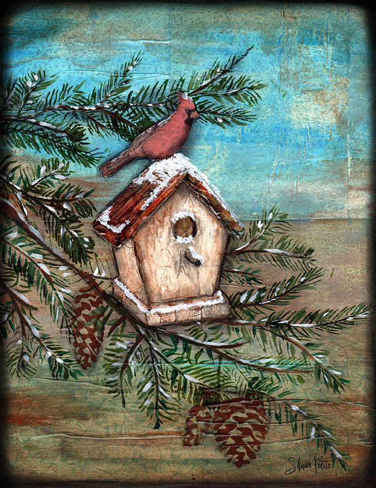 Cardinal bird house, digital instant download