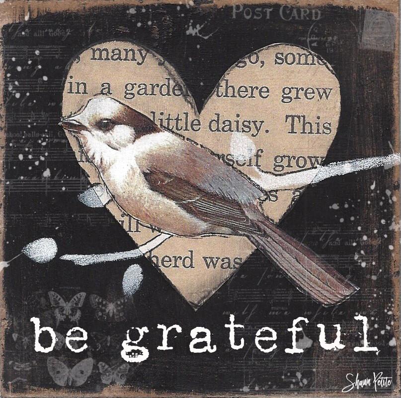 Grateful, heart bird digital instant download