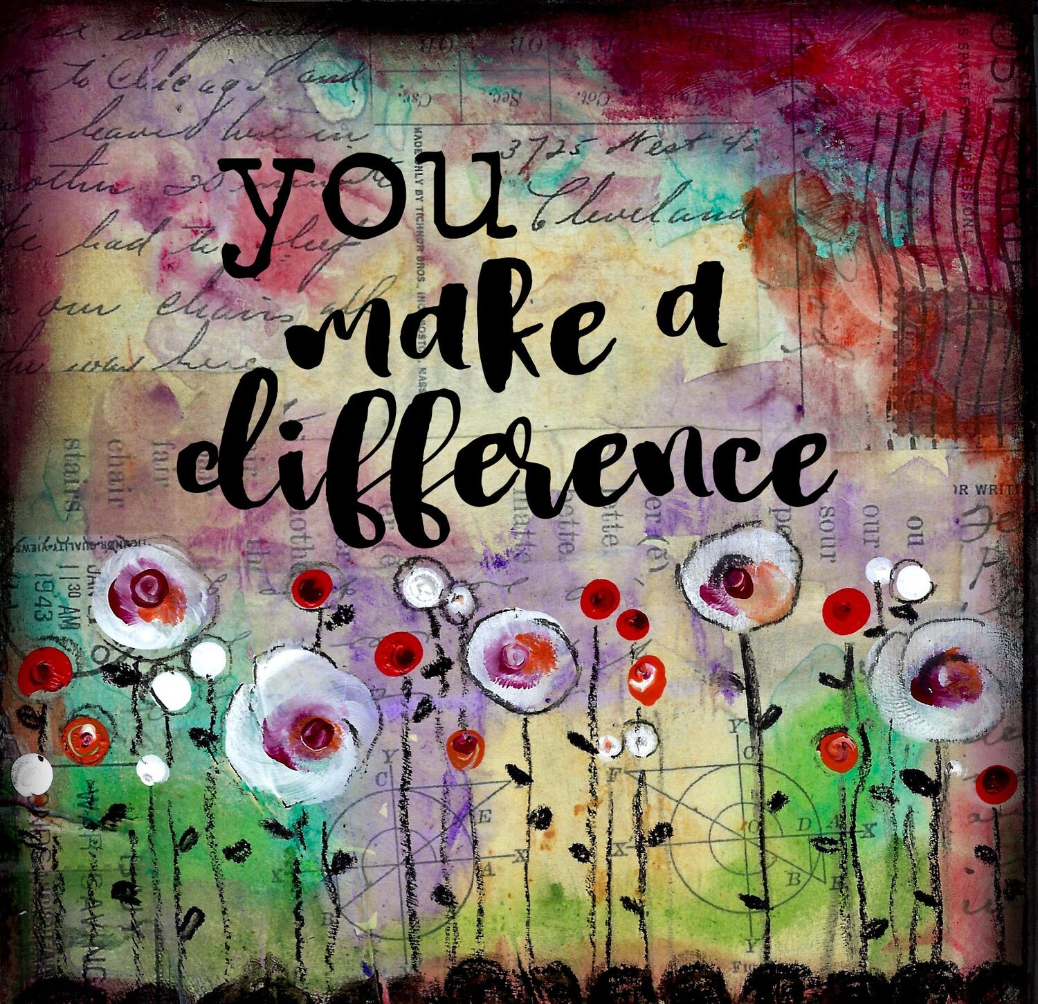 """""""You make a Difference"""" flower Print on Wood 6x6 Overstock"""