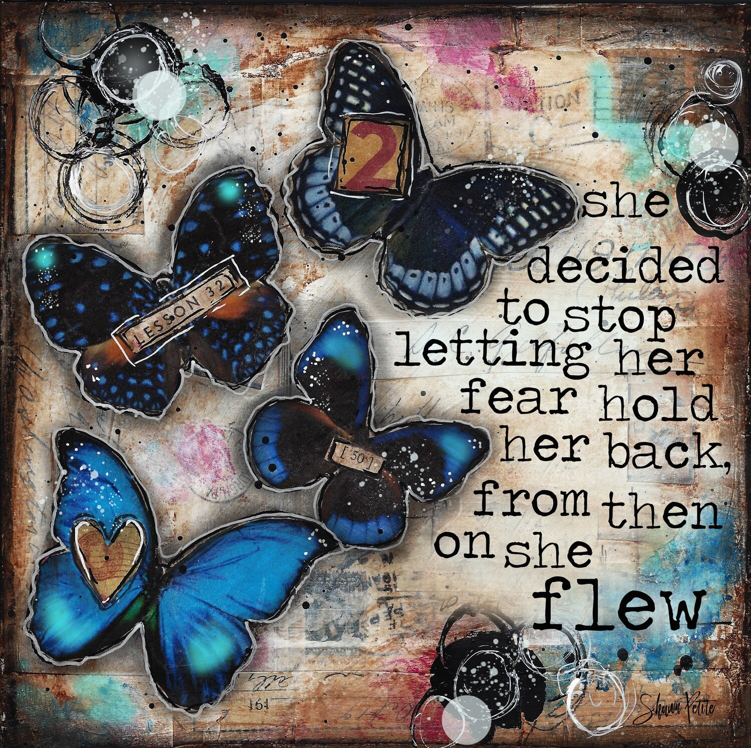"""She Decided"" butterfly Print on Wood 6x6 Overstock"
