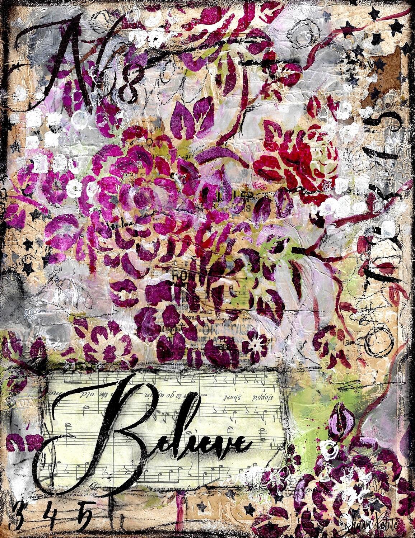 Believe, floral digital instant download