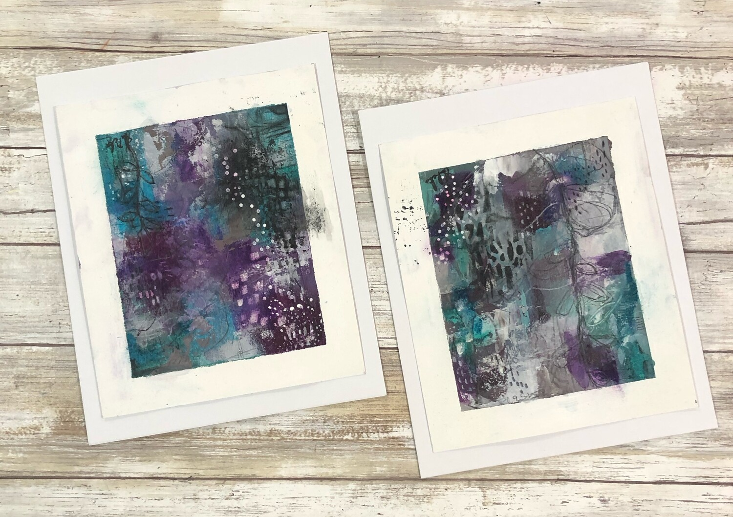 """Purple Abstract"" 7x8.5 mixed media original to be framed set of 2 clearance"