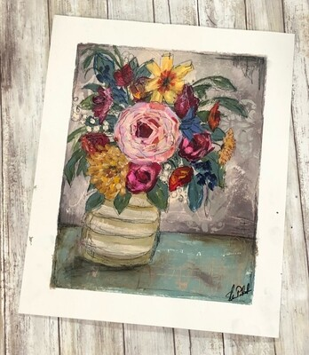 """""""Happiness floral"""" 14x17 mixed media original to be framed"""