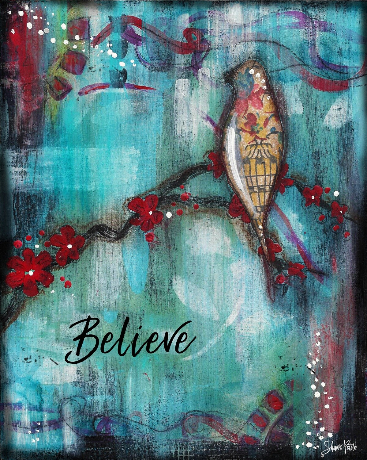 """Believe"" bird Print on Wood 6x4 Overstock"