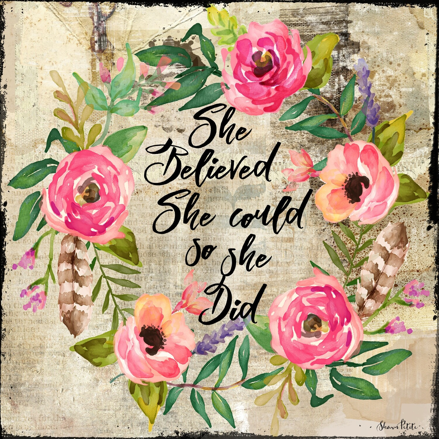 """She believed she could so she did"" flower Wreath Print on Wood 6x6 Overstock"