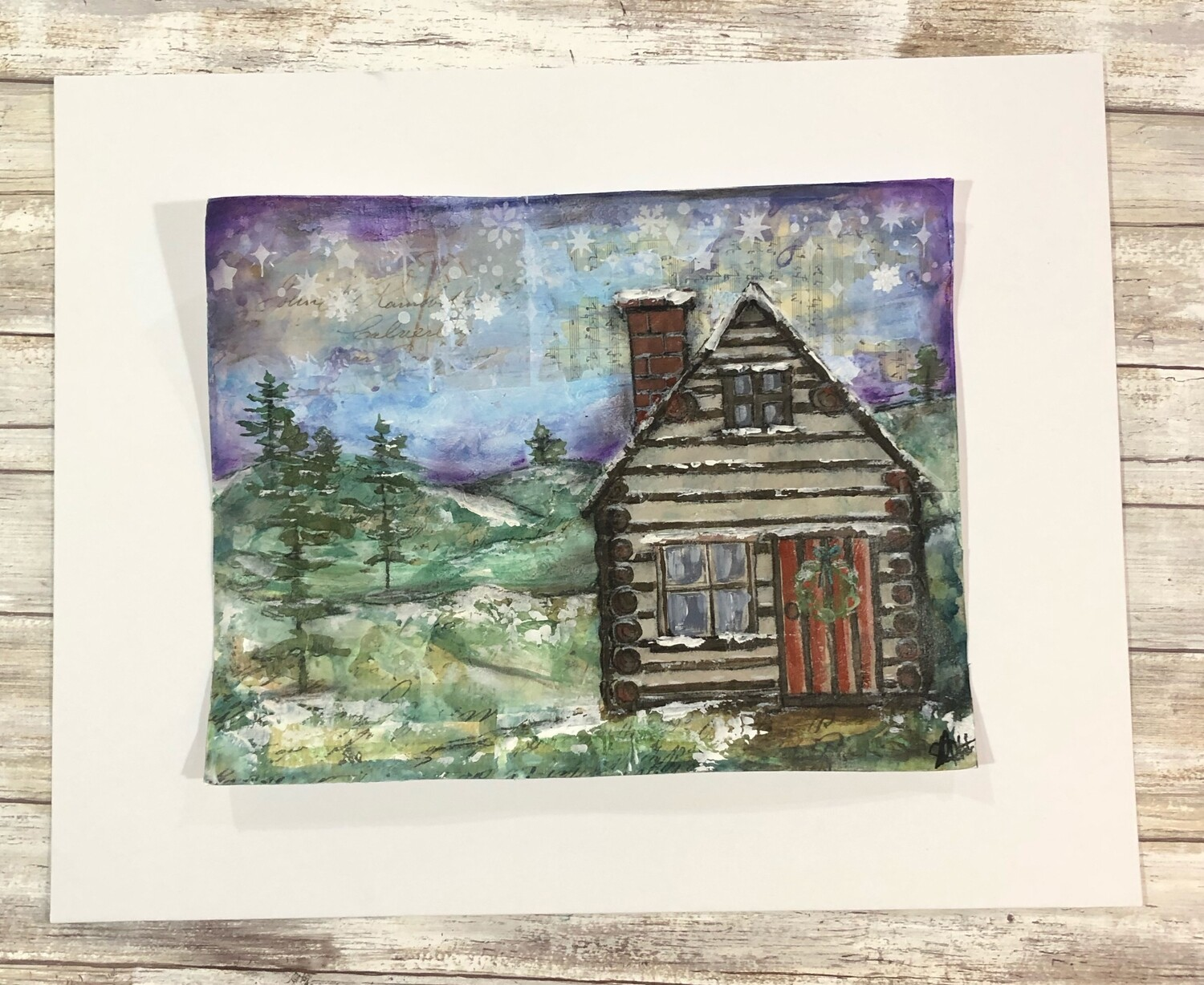 """""""Winter Cabin"""" 14x11 mixed media original to be framed clearance"""