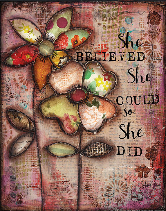She believed She could Print on Wood 5x7 Overstock
