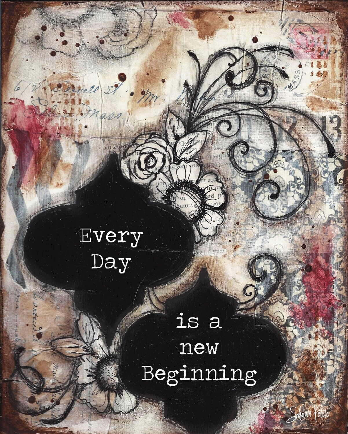 Every Day is a new beginning  Print on Wood 5x7 Overstock