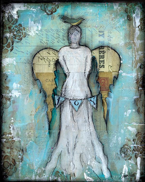 Joy Angel Print on Wood 5x7 Overstock