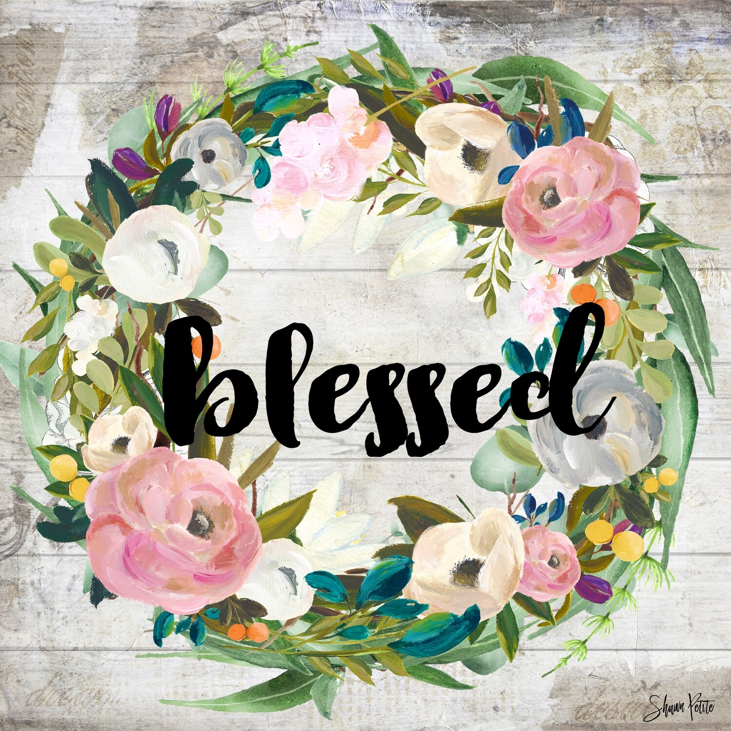 Blessed, muted flower wreath digital instant download