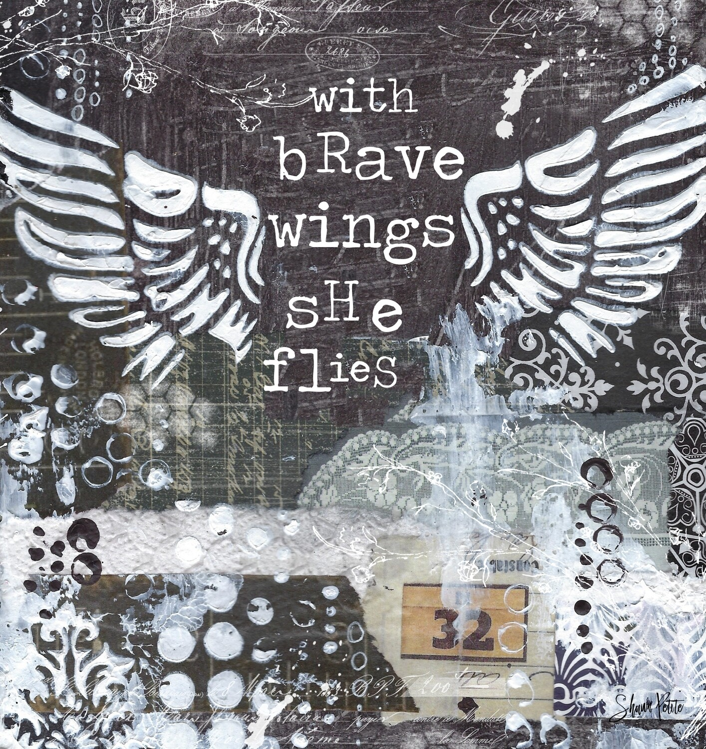 With brave wings, she flies, digital instant download