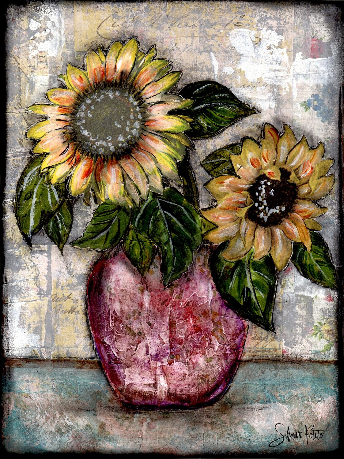 """Sunflower duo"" Print on Wood 4x6 Overstock"