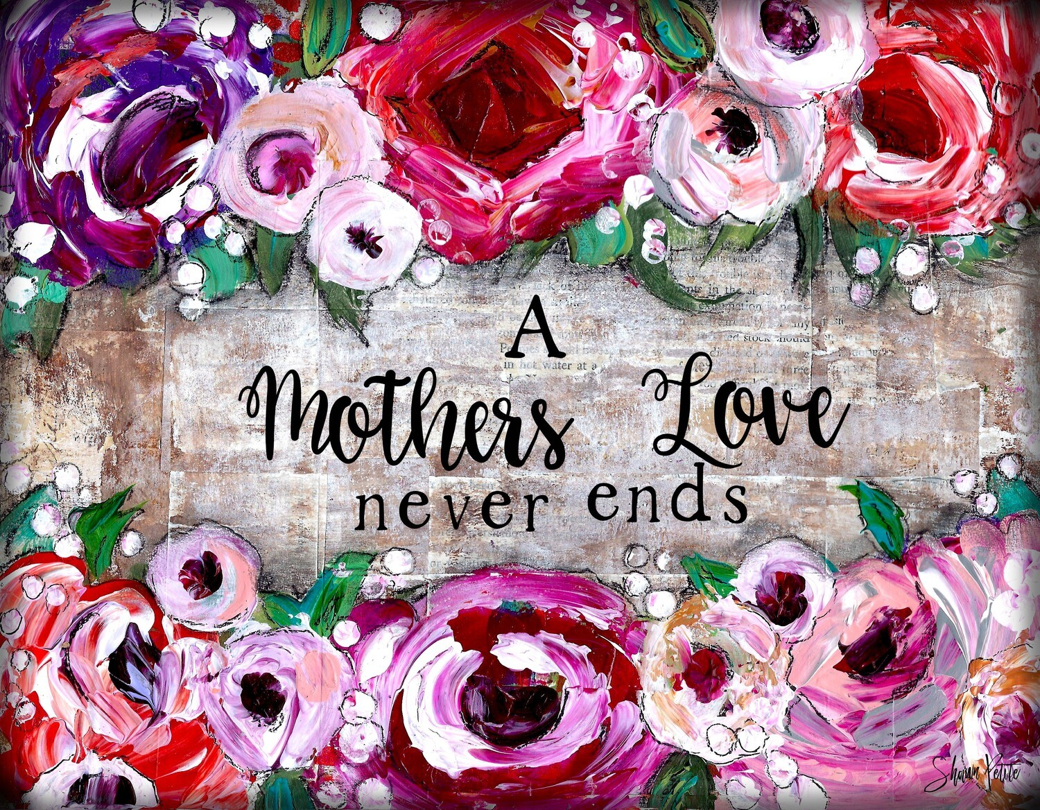 """A Mothers love never ends"" Print on Wood 5x7 Overstock"
