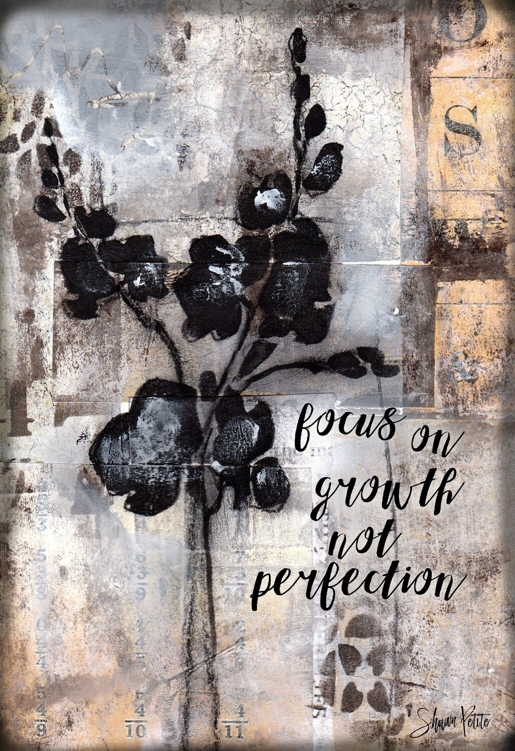 """""""Focus on growth not perfection"""" Print on Wood 4x6 Overstock"""